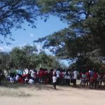 The children gather to watch sports day
